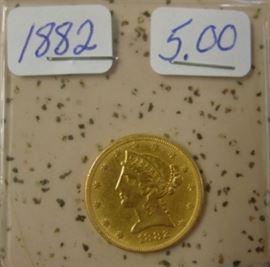 1882 Gold $5.00 Coin