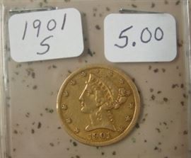 1901-S Gold $5.00 Coin