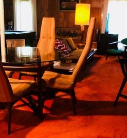 Adrian Pearsall Compass Table, Chairs, and Sofa