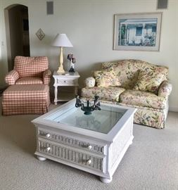 Clayton Marcus Chair & Ottoman, Bassett Loveseat, White Wicker Coffee Table and End Tables