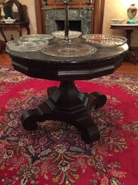 Classical/Empire Black Marble Top Center Table attributed to Meeks