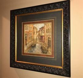 3 of 3 Venetian Artwork with Heavy Wood Frames