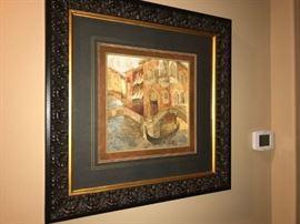 1 of 3 Venetian Artwork with Heavy Wood Frames