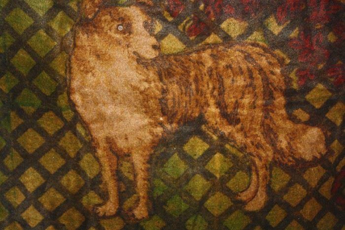 VINTAGE WOOL SLEIGH BLANKET ~ DOG WITH GLASS EYE