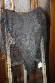 VINTAGE LACE, BEADED AND METAL ,MESH SHAWL