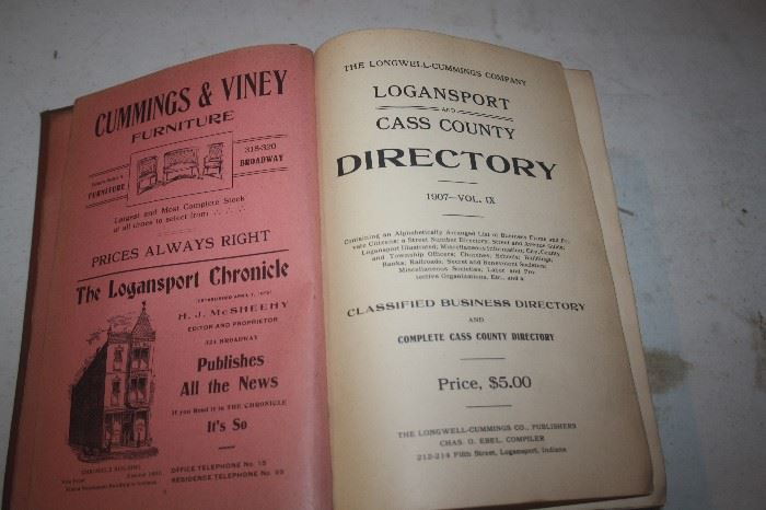 VINTAGE CASS COUNTY ~ LOGANSPORT DIRECTORY