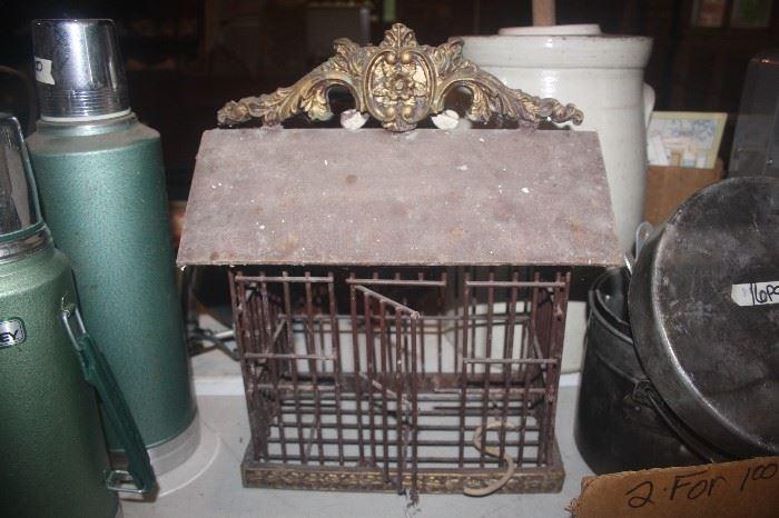 VINTAGE CAST IRON BIRD CAGE