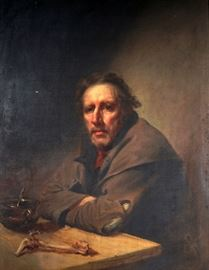 "WALDO, Samuel Lovett, (American, 1783-1861):  Attributed, Portrait of ""Old Pat"", the Independent Beggar, similar to the portrait in the  Boston Athenaeum.  While unsigned on front  we do believe this to be a work of  Waldo's with the back of panel bearing this inscription "" Copy of an original paint of the Independent Beggar by S. L. Waldo 1820, and presented by him to his friend Dort. (Dorothy?) Slocum, New York, Aug. 1829"".  Painting represents a seated beggar (identified in other painting as ""Old Pat"", Patrick McGregor) with bowl of soup and bone, Oil/Panel, 20"" x 16"", framed 25.5"" x 21.5"".  Provenance:  Descended through the Slocum family until now offered.  Condition:  Minor spots of inpaint and paint spatter, frame in need of restoration."