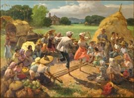 "AMORSOLO Y CUETO, Fernando, (Philippines, 1892-1972):  ""The Tinkiling Dance"" scene of couple performing the tradition Philippines folk dance in front of small crowd in field landscape, Oil/Canvas, signed and dated 1957 lower right, 31"" x 42"", framed 48.5"" x 37.5"".  Provenance:  Purchased by Mildred Brockdorff directly from the artist in 1957.  Mrs. Brockdorff worked for the State Department in the Philippines at that time.  Descended to her daughter in the 1980's, then to her daughter in 2011.  This painting has never been offered in the open market and is truly a fresh find.  Hand written letter of provenance by the granddaughter is provided. Condition:  Minor spotting verso."
