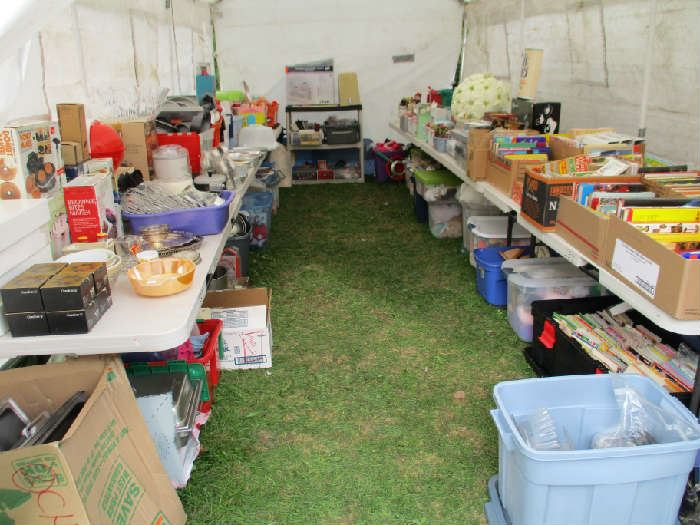TENT #1-COOKWARE, BAKEWARE, BEANIE BABIES, BOOKS, HOLIDAY, BARBIES