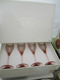 MIKASA PINK STEMWARE (4 BOXES)