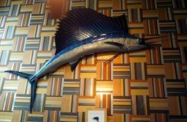"8' 6"" Sword Fish Mount, Fiberglass Replica Of Fish Caught In Acapulco In 1961"
