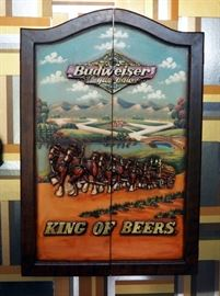 """Vintage Wood Carved Budweiser Clydesdale Dart Cabinet 36"""" x 24"""" x 5"""" Includes Unicorn Darts Qty. 6, Budweiser Flights And""""Darts American Style"""" Book"""
