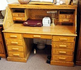 """Solid Oak Roll Top Desk 50"""" x 60"""" x 31"""""""