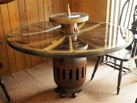 "Custom Wood Wagon Wheel Table With Working Lazy Susan, Approx. 43"" x 52"""