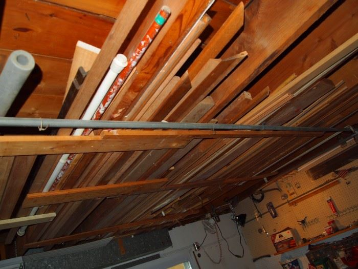 Lots of wood trim in the basement rafters