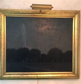 "Original Oil Painting by William Silva ""Washington Monument at Night""   A landscape painter, William Silva was an important art world figure in Tennessee and also in California, where he moved in 1913 and for thirty-five years devoted himself to painting cypresses, eucalypti, dunes, and coasts.  He was born in Savannah, Georgia, and studied at Chatham Academy and engineering at the University of Virginia. He inherited the family chinaware business, which he ran successfully for thirty years until he began painting at age 50.  In 1887, he moved to Chattanooga, Tennessee, and there became known as ""the finest artist at the turn of the century"" (Gerdts Art Across America, V III). He painted in an impressionist style and did many panoramic views of Chattanooga as well as paintings of the pine forests near Savannah. Initially he pursued his chinaware business there, but in 1894, began to take art instruction.  Encouraged by his wife, he retired from his business in 1907 and enrolled at the"