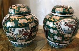 OMC Gold Imari urns