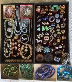 Vintage costume jewelry - rhinestones (makers include Karu, Hollycraft, Weiss, Trifari & more), Xmas tree pin & earring set, animal pins, colorful glass beads & more