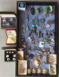 Better jewelry: Cufflink sets, Mikimoto pearl tie tack, Mexican & Native American sterling pieces with turquoise, Art Deco silver (color) necklace with blue stone, animal pins, Siam sterling bell earrings, camera cufflinks, pharmacy theme cufflinks & tie bars, cameo pin, silver filligree bracelet & more