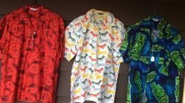 More vintage shirts - red Hawaiian, McGregor weiner dog shirt (!), blue & green Hawaiian shirt with tikis