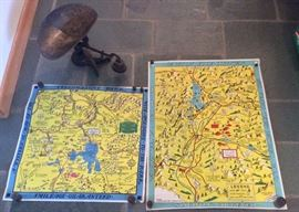 Last minute finds: old cast iron scale, 1930s Lindgren Bros. comical maps (Yellowstone & Jackson Hole)