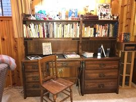 Great for den or office- Desk w/ upper book case, and 3 drawer cabinet w/ upper book case
