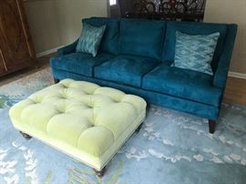 Stunning teal couch and lime green ottoman!!