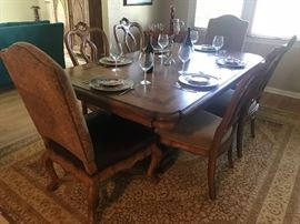 Dining room table and chairs - includes 2 additional leafs!! Area rug as well!