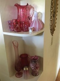 Cranberry glass in every corner of the house