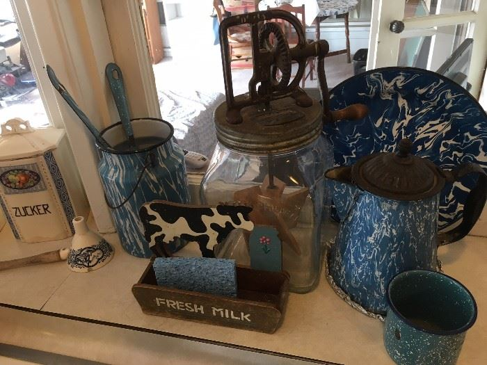 Blue graniteware.  Also lots of Grey