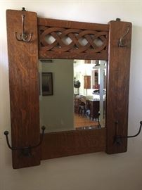 Oak entry mirror/coat rack