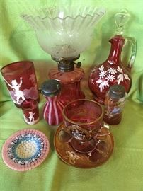 Cranberry & Murano glass