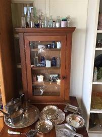 Medicine cabinet, bottles &  silver plate misc.