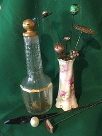 1920's Baccarat Perfume, Hatpins & Hatpin holder