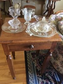 Pattern glass & Lamp Table