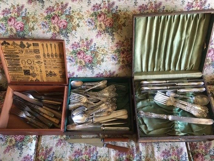 "Silver plated Flatware - several ""grape"" patterns"