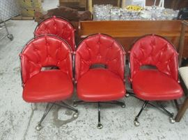 Retro red vinyl dining room chairs