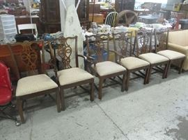 Set of six formal dining room chairs
