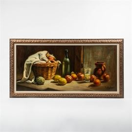 A LARGE STILL LIFE OIL ON CANVAS, SIGNED