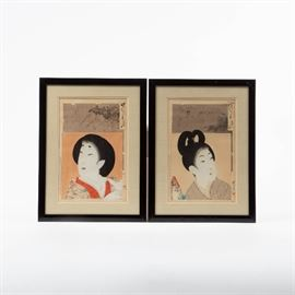 TWO CHIKANOBU WOODBLOCK PRINTS, AFTER TOYOHARA