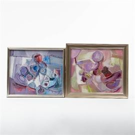 TWO ABSTRACT OIL ON CANVAS WORKS BY BERNARDII