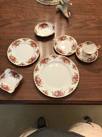 Royal Albert Old Country Rose China (5 piece place setting shown with two candy dishes)