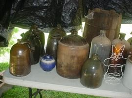 There are SO many old crocks, jugs, and old glass jars and jugs