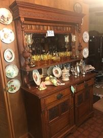 Antique Oak Sideboard with Beveled Mirror