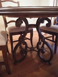 Ethan Allen Table with Iron Base