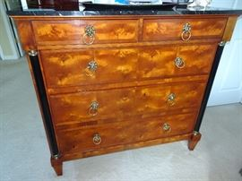 "Century Marble Top Burled Wood Dresser - 48""W X  19""D X  44""H"