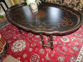 "Ascesion Painted Pie Crust Coffee Table -  56"" X  32""W X 2""H""H"
