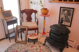 Wood Burning Stove, Assorted Furnishings - Chair, Foot Stool, Small Table, Colorful Pedestal, Urn, Frame and Art