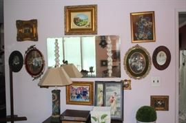 Assorted Art, Table Lamp and Decorative Mirror